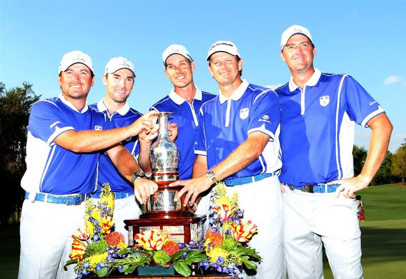 WINDERMERE, FL - MARCH 15:  (L-R) Graeme McDowell, Oliver Wilson, Henrik Stenson, Retief Goosen, and Peter Hanson of Team Lake Nona pose with the trophy after winning the Tavistock Cup at Isleworth Golf & Country Club on March 15, 2011 in Windermere, Florida.  (Photo by Sam Greenwood/Getty Images)