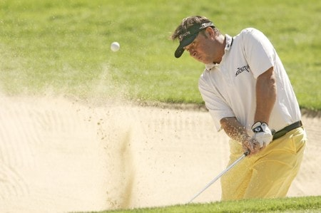 Emanuele Canonica blasts out of a bunker during the first round of the 2005 Omega European Masters at the Crans-sur-Sierre Golf Club in Crans-Montana, Switzerland on September 1, 2005.Photo by Pete Fontaine/WireImage.com