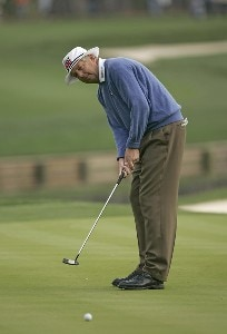 Kirk Triplett putting during the second round of THE PLAYERS Championship held at the TPC Stadium Course in Ponte Vedra Beach, Florida on March 24, 2006.Photo by Sam Greenwood/WireImage.com