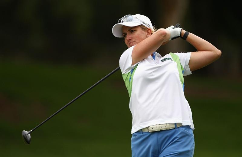 GOLD COAST, AUSTRALIA - MARCH 06: Karrie Webb of Australia plays a fairway wood on the 3rd hole during round three of the 2010 ANZ Ladies Masters at Royal Pines Resort on March 6, 2010 in Gold Coast, Australia.  (Photo by Ryan Pierse/Getty Images)