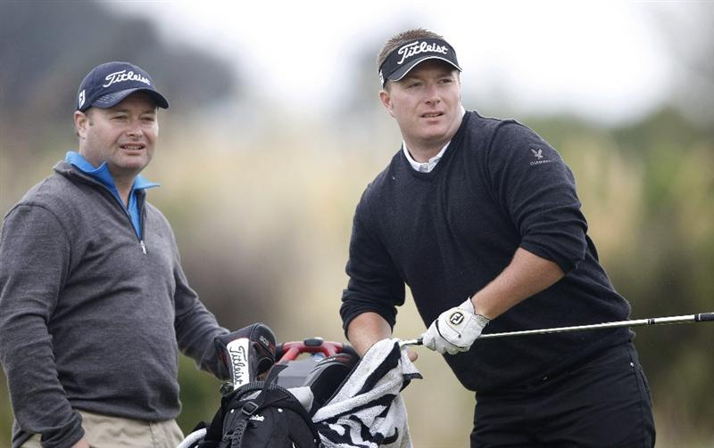 CHRISTCHURCH, NEW ZEALAND - JANUARY 22:  Anthony Doyle (R) of New Zealand with his brother and caddie James Doyle at Clearwater Golf Course on January 22, 2010 in Christchurch, New Zealand.  (Photo by Martin Hunter/Getty Images)
