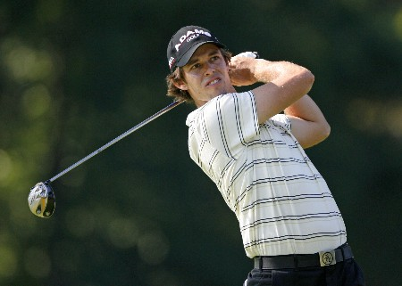 PARAMUS, NJ - AUGUST 22: Aaron Baddeley of Australia plays a shot during the second round of The Barclays at Ridgewood Country Club on August 22, 2008 in Paramus, New Jersey. (Photo by Hunter Martin/Getty Images)
