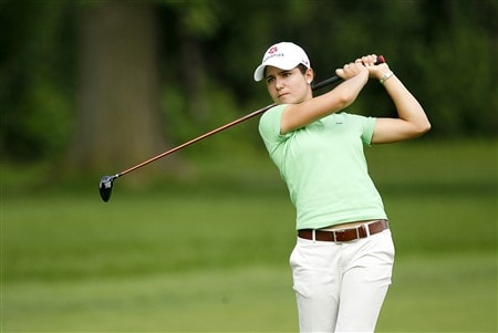 ROCHESTER, NY - JUNE 20: Lorena Ochoa of Mexico hits her second shot on the 4th hole during the second round of the Wegmans LPGA at Locust Hill Country Club on June 20, 2008 in Rochester, New York. (Photo by Hunter Martin/Getty Images)