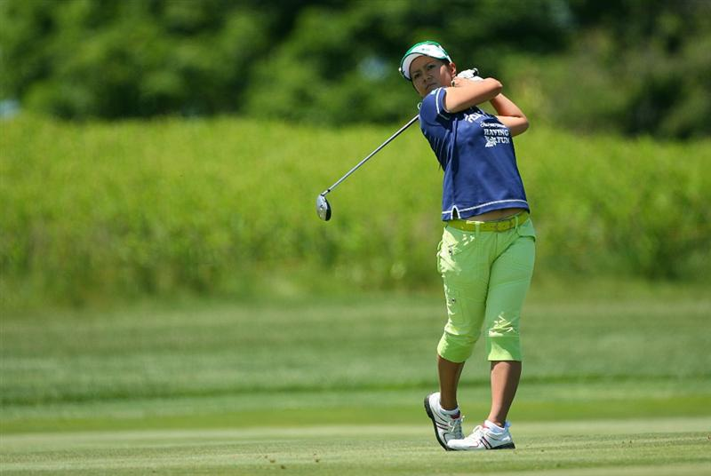 GLADSTONE, NJ - MAY 20 : Ai Miyazato of Japan hits her second shot on the 14th hole during the first round of the Sybase Match Play Championship at Hamilton Farm Golf Club on May 20, 2010 in Gladstone, New Jersey. (Photo by Hunter Martin/Getty Images)