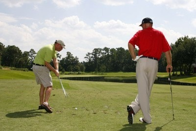 Frank Lickliter II watches his teammate take a swing during the 2006 America Supports You Charity Golf Tournament held at TPC at Sawgrass, Ponte Vedra Beach, FL. on September 25, 2006. Photo by: Stan Badz/PGA TOURPhoto by: Stan Badz/PGA TOUR