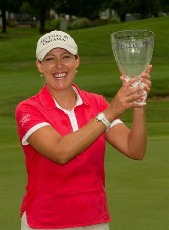 SPRINGFIELD, IL - JUNE 14: Cristie Kerr poses with the winner's trophy after completion of the final round of the LPGA State Farm Classic at Panther Creek Country Club on June 14, 2010 in Springfield, Illinois. (Photo by Darren Carroll/Getty Images)