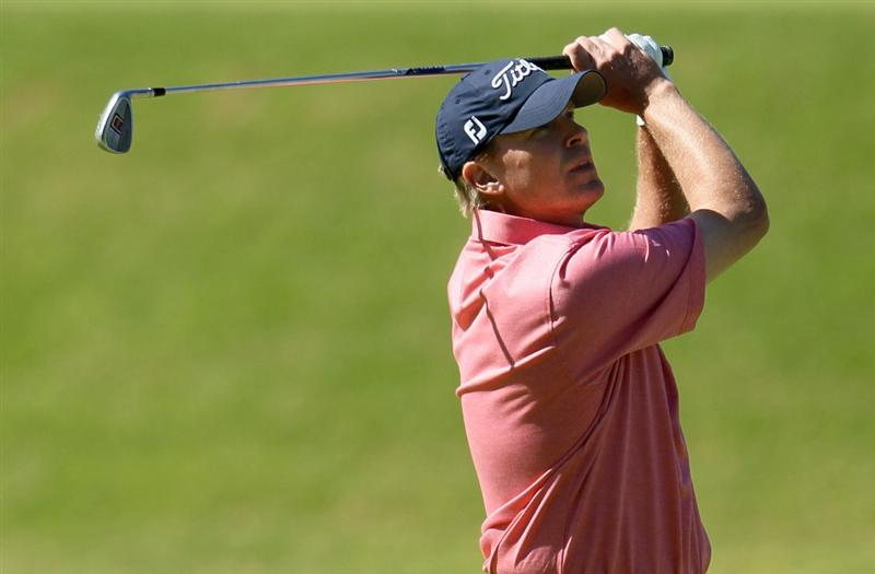 PACIFIC PALISADES, CA - FEBRUARY 07:  Steve Stricker watches his second shot on the eighth hole during the final round of the Northern Trust Open at Riviera Country Club on February 7, 2010 in Pacific Palisades, California.  (Photo by Jeff Gross/Getty Images)