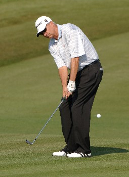 Don Pooley chips for an eagle on the seventh green during the first round of the 2005 Liberty Mutual Legends of Golf tournament at the Westin Savannah Harbor Golf Resort & Spa on April 22, 2005 in Savannah, Georgia.Photo by Al Messerschmidt/WireImage.com