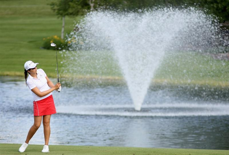 SPRINGFIELD, IL - JUNE 05:  M.J. Hur of South Korea hits her second shot on the 11th hole during the second round of the LPGA State Farm Classic golf tournament at Panther Creek Country Club on June 5, 2009 in Springfield, Illinois.  (Photo by Christian Petersen/Getty Images)