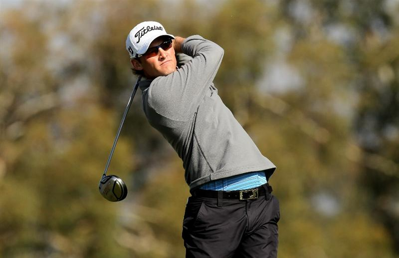LA JOLLA, CA - JANUARY 31:  Michael Sim of Australia hits his his tee shot on the second hole on the South Course at Torrey Pines Golf Course during the final round of the Farmers Insurance Open on January 31, 2010 in La Jolla, California.  (Photo by Stephen Dunn/Getty Images)