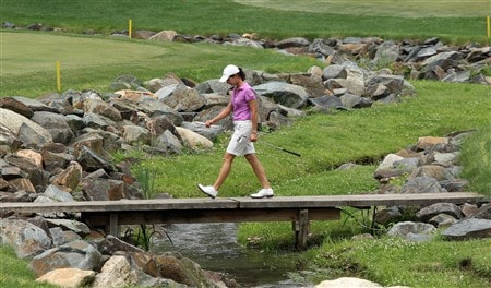 HAVRE DE GRACE, MD - JUNE 04: Lorena Ochoa of Mexico walks across the bridge on the approach to the second green during practice for the 2008 McDonald's LPGA Championship held at Bulle Rock Golf Course, on June 4, 2008 in Havre de Grace, Maryland.  (Photo by David Cannon/Getty Images)