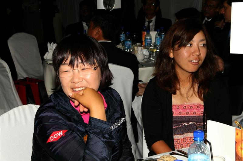 KUALA LUMPUR, MALAYSIA - OCTOBER 22 : Jiyai Shin (L) and Mika Miyazato during the Sime Darby LPGA Charity Gala Dinner on October 22, 2010 at the Sime Darby Convention Centre in Kuala Lumpur, Malaysia. (Photo by Stanley Chou/Getty Images)
