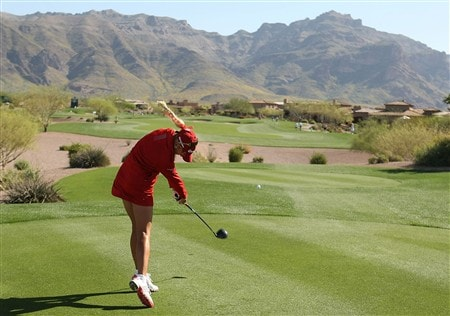 SUPERSTITION MOUNTAIN, ARIZONA - MARCH 28:  Natalie Gulbis hits her tee shot on the 16th hole during the second round of the Safeway International at Superstition Mountain Golf and Country Club on March 28, 2008 in Superstition Mountain, Arizona.  (Photo by Scott Halleran/Getty Images)