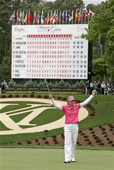 WILLIAMSBURG, VA - MAY 11: Annika Sorenstam of Sweden celebrates after winning the Michelob Ultra Open at Kingsmill Resort & Spa on May 11, 2008 in Williamsburg, Virginia. (Photo by Hunter Martin/Getty Images)