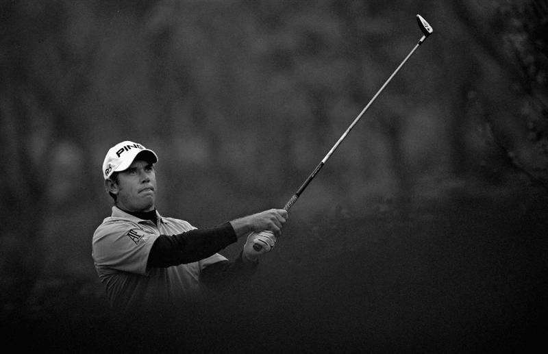 ICHEON, SOUTH KOREA - APRIL 30:  (EDITOR'S NOTE: THIS BLACK AND WHITE IMAGE WAS CREATED FROM ORIGINAL COLOUR FILE)  Lee Westwood of England in action during the third round of the Ballantine's Championship at Blackstone Golf Club on April 30, 2011 in Icheon, South Korea.  (Photo by Andrew Redington/Getty Images)