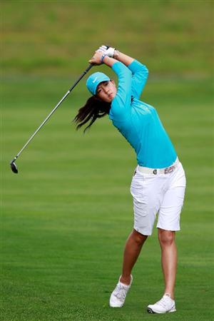 GLADSTONE, NJ - MAY 20: Michelle Wie hits her second shot on the second playoff hole against Anna Nordqvist of Sweden in round two of the Sybase Match Play Championship at Hamilton Farm Golf Club on May 20, 2011 in Gladstone, New Jersey. (Photo by Chris Trotman/Getty Images)