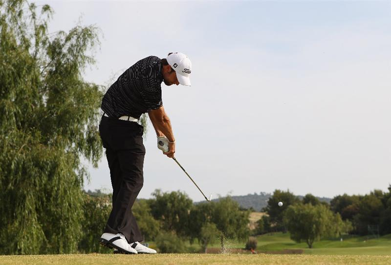 MALLORCA, SPAIN - MAY 14:  Steve Lewton of England tees off on the 8th hole during day three of the Iberdrola Open at Pula Golf Club on May 14, 2011 in Mallorca, Spain.  (Photo by Julian Finney/Getty Images)