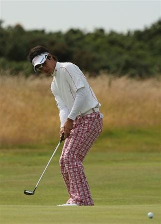 TURNBERRY, SCOTLAND - JULY 12:  Ryo Ishikawa of Japan in action during the practice round of the 138th Open Championship on July 12, 2009 on the Ailsa Course, Turnberry Golf Club, Turnberry, Scotland.  (Photo by Ross Kinnaird/Getty Images)