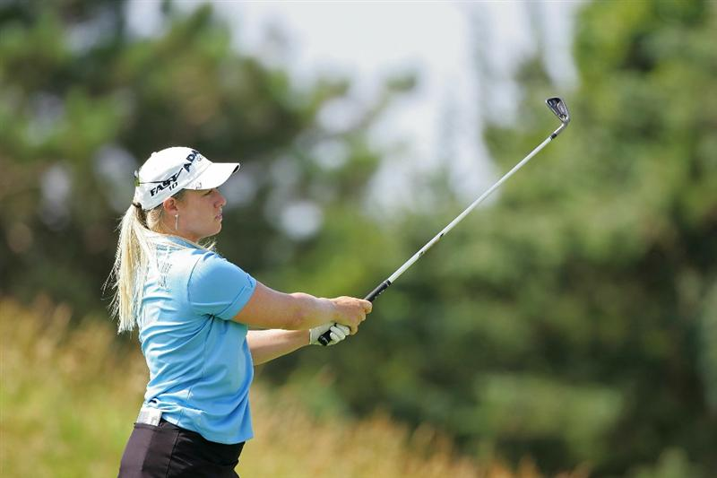 GALLOWAY, NJ - JUNE 18: Brittany Lincicome watches her shot during the second round of the ShopRite LPGA Classic held at Dolce Seaview Resort (Bay Course) on June 18, 2010 in Galloway, New Jersey.  (Photo by Michael Cohen/Getty Images)