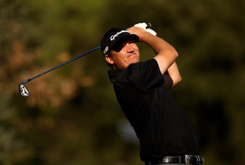 GIRONA, SPAIN - DECEMBER 01:  Jarmo Sandelin of Sweden in action during the fourth round of the European Tour Qualifying School Final Stage at the PGA Golf de Catalunya golf resort on December 1, 2009 in Girona, Spain.  (Photo by Richard Heathcote/Getty Images)