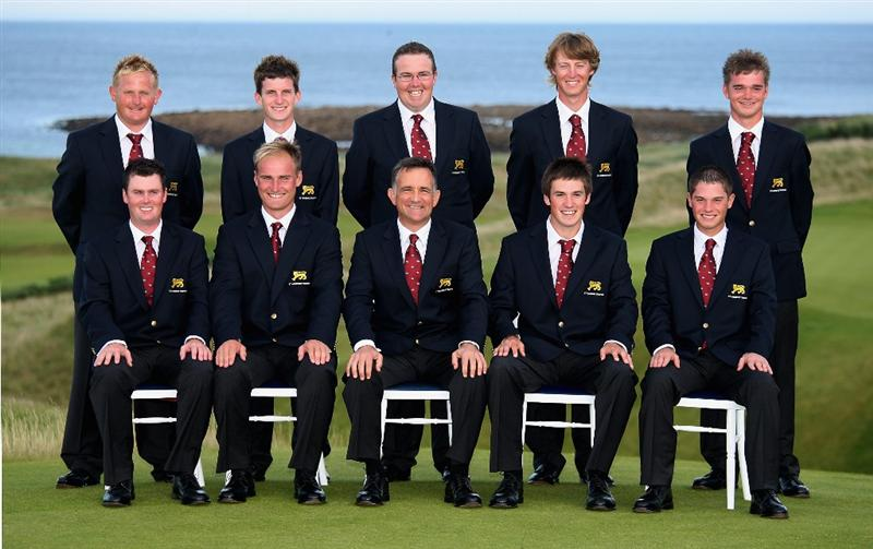 FIFE, UNITED KINGDOM - AUGUST 28:  The Great Britain & Ireland team pose for a picture before the start of the 2008 St Andrews Trophy, held at Kingsbarns Golf Club, on August 29, 2008. in Fife, Scotland.  (Photo by Warren Little/Getty Images)