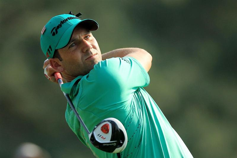 AUGUSTA, GA - APRIL 09:  Sergio Garcia of Spain watches his tee shot on the 18th hole during the third round of the 2011 Masters Tournament at Augusta National Golf Club on April 9, 2011 in Augusta, Georgia.  (Photo by David Cannon/Getty Images)