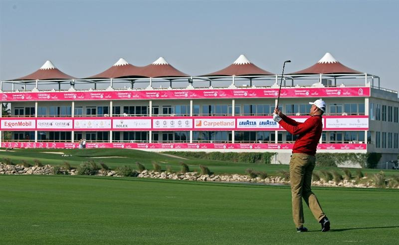 DOHA, QATAR - JANUARY 27:  Robert Karlsson of Sweden plays his third shot on the ninth hole during the Pro Am prior to the start of the Commercialbank Qatar Masters at Doha Golf Club on January 27, 2010 in Doha, Qatar.  (Photo by Andrew Redington/Getty Images)