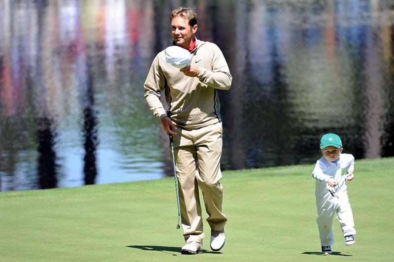 AUGUSTA, GA - APRIL 08:  Trevor Immelman of South Africa with his son Jacob during the Par 3 Contest prior to the 2009 Masters Tournament at Augusta National Golf Club on April 8, 2009 in Augusta, Georgia.  (Photo by Harry How/Getty Images)