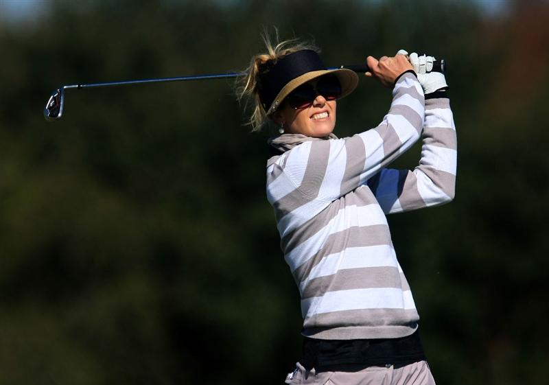 DAYTONA BEACH, FL - DECEMBER 07:  Anna Rawson of Australia watches her tee shot on the 14th hole during the final round of the LPGA Qualifying School at LPGA International on December 7, 2008 in Daytona Beach, Florida.  (Photo by Scott Halleran/Getty Images)