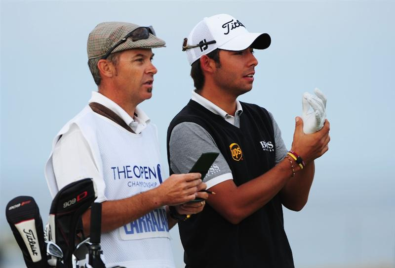 TURNBERRY, SCOTLAND - JULY 16:  Pablo Larrazabal of Spain and caddie Rod Gutry look on during round one of the 138th Open Championship on the Ailsa Course, Turnberry Golf Club on July 16, 2009 in Turnberry, Scotland.  (Photo by Stuart Franklin/Getty Images)