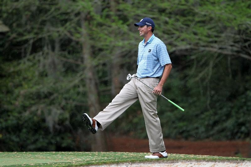 AUGUSTA, GA - APRIL 08:  Matt Kuchar reacts on the 11th hole during the first round of the 2010 Masters Tournament at Augusta National Golf Club on April 8, 2010 in Augusta, Georgia.  (Photo by Jamie Squire/Getty Images)