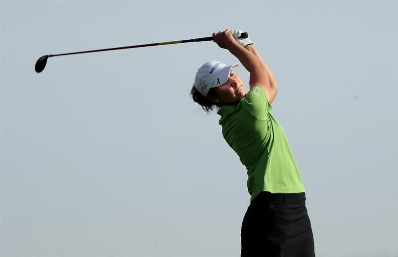 PHOENIX, AZ - MARCH 19:  Jennifer Johnson hits her tee shot on the fifth hole during the second round of the RR Donnelley LPGA Founders Cup at Wildfire Golf Club on March 19, 2011 in Phoenix, Arizona. (Photo by Stephen Dunn/Getty Images)