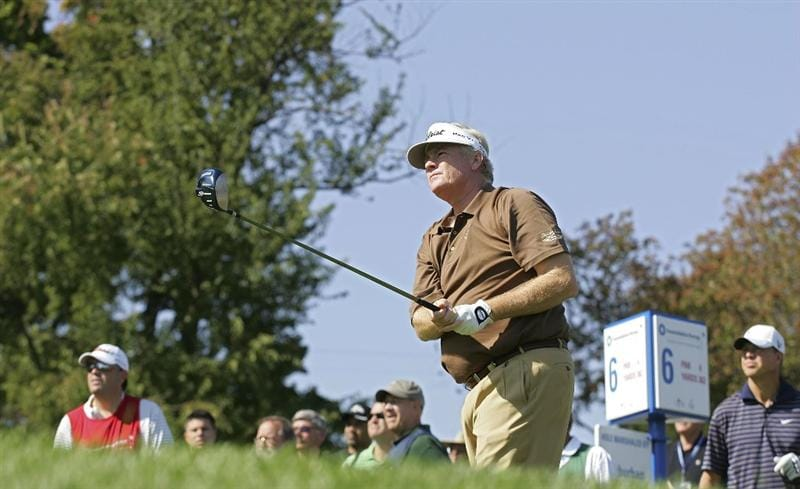 TIMONIUM, MD - OCTOBER 03:  Mark Wiebe hits his drive on the sixth hole during the third round of the Constellation Energy Senior Players Championship at Baltimore Country Club/Five Farms (East Course) held on October 3, 2009 in Timonium, Maryland  (Photo by Michael Cohen/Getty Images)