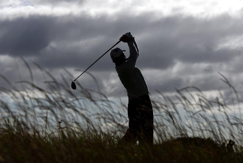 ST. ANDREWS, UNITED KINGDOM - OCTOBER 05: Markus Brier of Austria drives off the sixth tee during the final round of The Alfred Dunhill Links Championship at The Old Course on October 5, 2008 in St.Andrews, Scotland. (Photo by Andrew Redington/Getty Images)