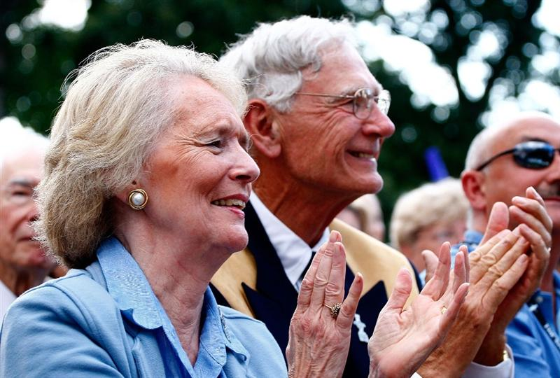 SUGAR GROVE, IL - AUGUST 20:  Course owner Jerry Rich and his wife Betty watch the Opening Ceremonies prior to the start of the 2009 Solheim Cup at Rich Harvest Farms on August 20, 2009 in Sugar Grove, Illinois.  (Photo by Scott Halleran/Getty Images)