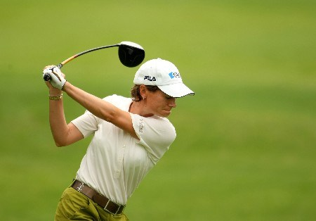 SUN CITY, SOUTH AFRICA - JANUARY 18:  Catriona Matthew of Scotland tee's off at the 4th during the first round of the Women's World Cup of Golf at The Gary Player Country Club on January 18, 2008 in Sun City, South Africa.  (Photo by Richard Heathcote/Getty Images)