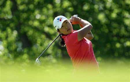 EDINAH, MN - JUNE 24:  Seon-Hwa Lee of South Korea tees off from the 4th tee during practice for the 2008 US Womens Open Championship held at The Interlachen Country Club, on June 24, 2008 in Edinah, Minnesota.  (Photo by David Cannon/Getty Images)