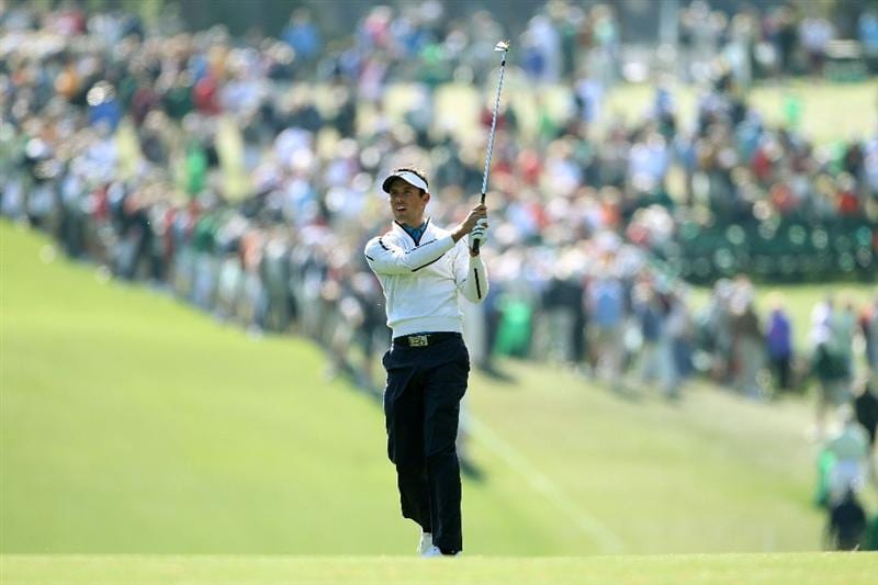 AUGUSTA, GA - APRIL 09:  Charl Schwartzel of South Africa plays a shot on the first hole during the second round of the 2010 Masters Tournament at Augusta National Golf Club on April 9, 2010 in Augusta, Georgia.  (Photo by Andrew Redington/Getty Images)