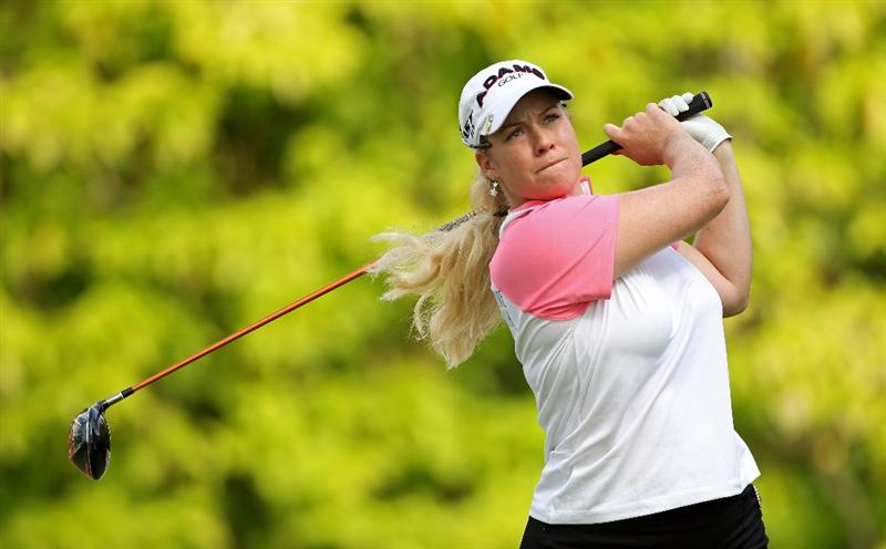 SINGAPORE - FEBRUARY 25:  Brittany Lincicome of the USA hits her tee-shot on the sixth hole during the first round of the HSBC Women's Champions at the Tanah Merah Country Club on February 25, 2010 in Singapore.  (Photo by Andrew Redington/Getty Images)