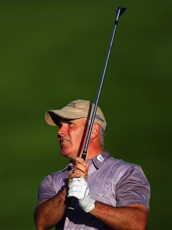 CRANS, SWITZERLAND - SEPTEMBER 05:  Phillip Archer of England plays his second shot on the 12th hole during the second round of the Omega European Masters at Crans-Sur-Sierre Golf Club on September 5, 2008 in Crans Montana, Switzerland.  (Photo by Andrew Redington/Getty Images)