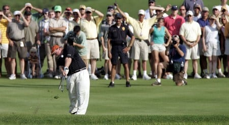 Craig Stadler hits his second shot to the par five 18th hole during his final round at the 3M Championship, August 7, 2005, held at the TPC of the Twin Cities, Blaine, Minnesota. Stadler finished one shot back of Tom Purtzer to tie for second place.Photo by Gregory Shamus/WireImage.com