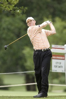 Troy Matteson tees off at hole #6 during the third round of the Rheem Classic at Hardscrabble Country Club in Fort Smith, Arkansas on Saturday May 14, 2005. Matteson finished the third round tied for fifth with a -7.Photo by Wesley Hitt/WireImage.com