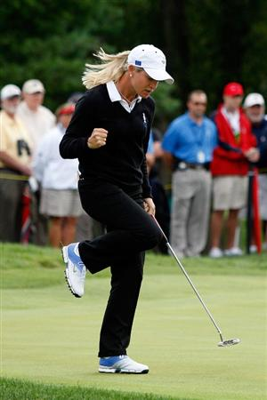 SUGAR GROVE, IL - AUGUST 21:  Suzann Pettersen of the European team reacts a putt for birdie on the 6th hole during the Friday morning Fourball matches at the 2009 Solheim Cup at Rich Harvest Farms on August 21, 2009 in Sugar Grove, Illinois.  Paula Creamer and Cristie Kerr of the U.S. Team defeated Suzann Pettersen and Sophie Gustafson of the European Team.  (Photo by Chris Graythen/Getty Images)