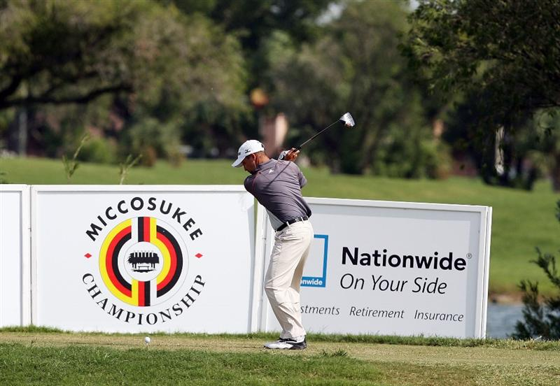 MIAMI - OCTOBER 18:  Chad Collins hits his drive on the 16th hole during the final round of the 2009 Nationwide Tour Miccosukee Championship at the Miccosukee Golf & Country Club on October 18, 2009 in Miami, Florida. Collins birdied the 72nd hole in regulation to win by one stroke.  (Photo by Doug Benc/Getty Images)