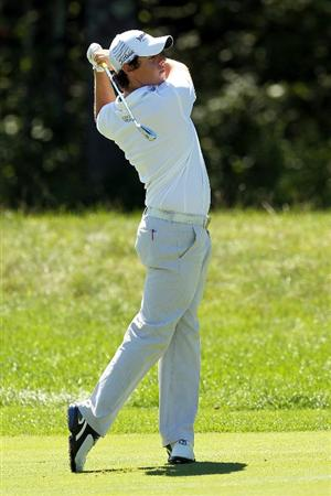 NORTON, MA - SEPTEMBER 06:  Rory McIlroy of Northern Ireland hits a shot on the ninth hole during the final round of the Deutsche Bank Championship at TPC Boston on September 6, 2010 in Norton, Massachusetts.  (Photo by Mike Ehrmann/Getty Images)