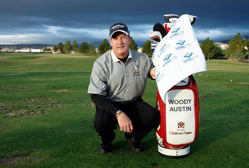 LAS VEGAS - OCTOBER 14:  Golfer Woody Austin poses on the driving range before playing in the Justin Timberlake Shriners Hospitals for Children Open Championship Pro-Am at the TPC Summerlin October 14, 2009 in Las Vegas, Nevada.  (Photo by Ethan Miller/Getty Images)
