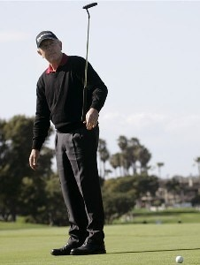 Hale Irwin reacts after missing a birdie putt on the 18th hole during the final round of the Toshiba Classic at Newport Beach Country Club in Newport Beach, California on March 19, 2006.Photo by Gregory Shamus/WireImage.com
