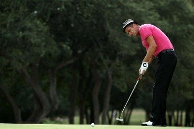 Jesper Parnevik putts on the second hole during the final round of the Valero Texas Open at La Cantera Golf Club on October 7, 2007 in San Antonio, Texas. PGA TOUR - 2007 Valero Texas Open - Final RoundPhoto by Jonathan Ferrey/WireImage.com