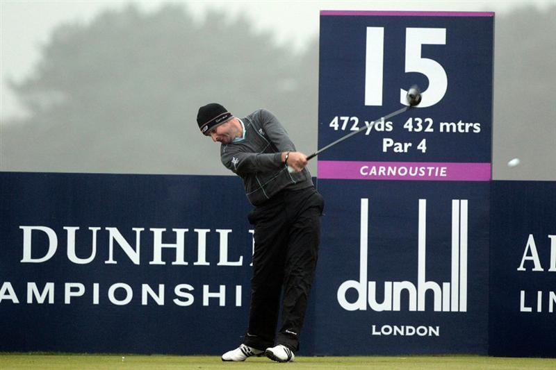 CARNOUSTIE, SCOTLAND - OCTOBER 08: Richard Bland of England tees off at the 15th hole during the second round of The Alfred Dunhill Links Championship at Carnoustie Golf Links on October 8, 2010 in Carnoustie, Scotland.  (Photo by David Cannon/Getty Images)