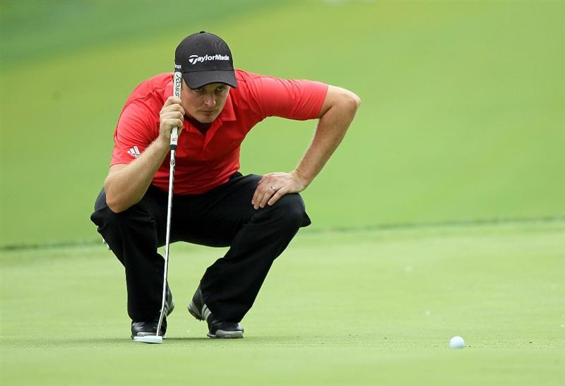 DUBLIN, OH - JUNE 05:  Justin Rose of England lines up his birdie putt on the second hole during the third round of The Memorial Tournament presented by Morgan Stanley at Muirfield Village Golf Club on June 5, 2010 in Dublin, Ohio.  (Photo by Andy Lyons/Getty Images)